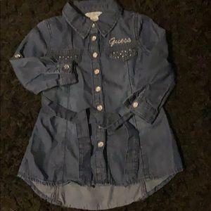 Guess blue Jean button up dress